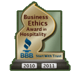 2010 Business Ethics Award in Hospitality, Better Business Bureau